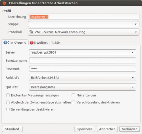 VNC-Verbindungsdialog unter Ubuntu (Programm Remmina)