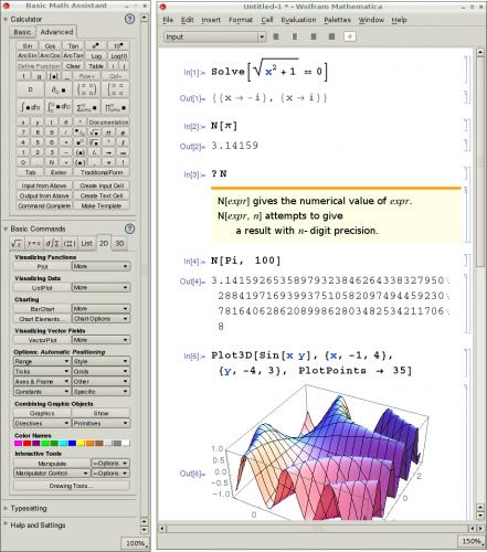 Die grafische Benutzeroberfläche von Mathematica