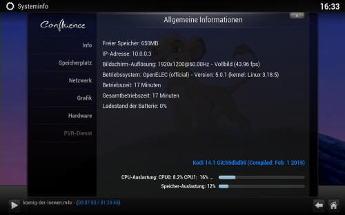 openELEC 5.0.1 kann die vier Cores des Pi 2 nicht auslasten