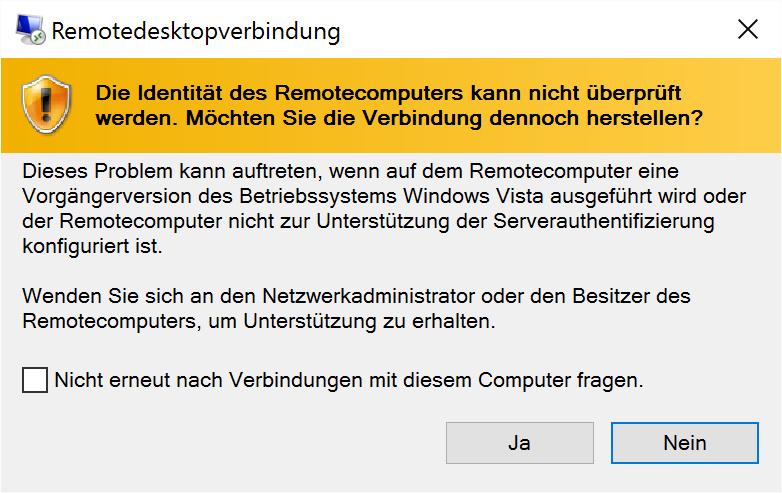 Windows warnt, dass xrdp eine alte Protokollversion verwendet. Antworten Sie mit »Ja«!
