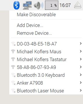 Das neue Bluetooth-Menü im Panel