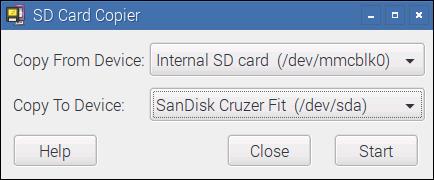 Viel Geduld vorausgesetzt, kann mit dem SD Card Copier ein Backup der SD-Karte im laufenden Betrieb auf ein USB-Gerät durchgeführt werden. Raspbian sollte während der Zeit möglichst nur im Leerlauf genutzt werden, um die Gefahr inkonsistenter Dateien zu minimieren.